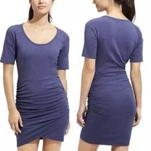 Athleta Short Sleeves Ruched Sides T-Shirt  Dress